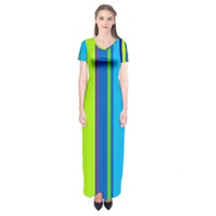 Blue And Green Lines Short Sleeve Maxi Dress