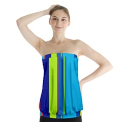 Blue and green lines Strapless Top