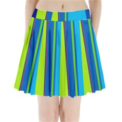 Blue and green lines Pleated Mini Mesh Skirt