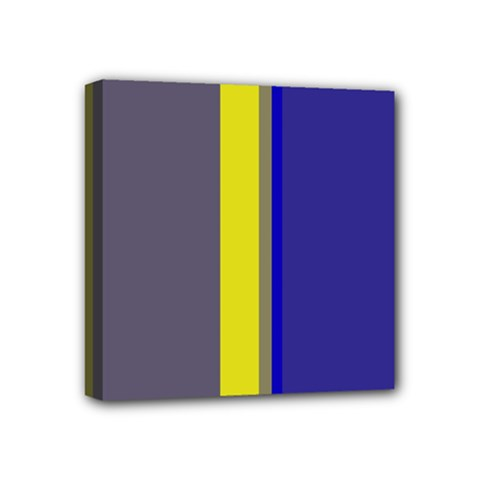 Blue and yellow lines Mini Canvas 4  x 4