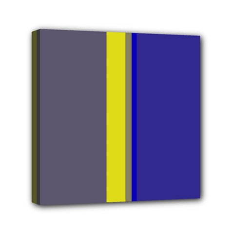 Blue and yellow lines Mini Canvas 6  x 6