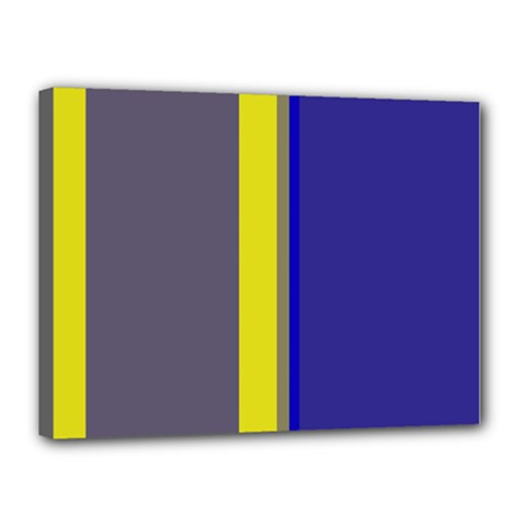 Blue and yellow lines Canvas 16  x 12