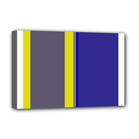 Blue and yellow lines Deluxe Canvas 18  x 12