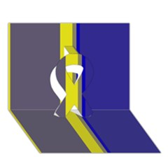 Blue and yellow lines Ribbon 3D Greeting Card (7x5)