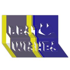 Blue and yellow lines Best Wish 3D Greeting Card (8x4)