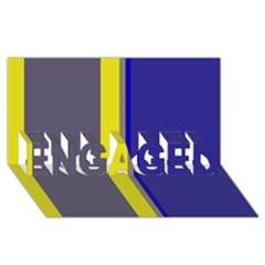 Blue and yellow lines ENGAGED 3D Greeting Card (8x4)