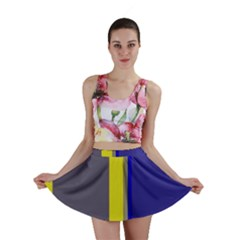 Blue and yellow lines Mini Skirt