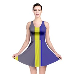 Blue and yellow lines Reversible Skater Dress