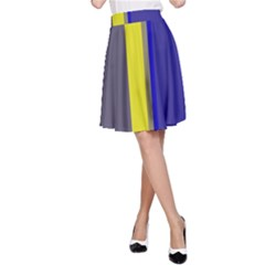 Blue and yellow lines A-Line Skirt