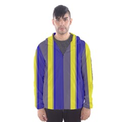 Blue and yellow lines Hooded Wind Breaker (Men)