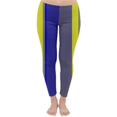 Blue and yellow lines Winter Leggings
