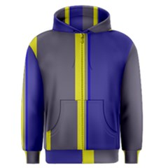 Blue and yellow lines Men s Zipper Hoodie