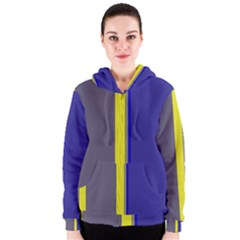 Blue and yellow lines Women s Zipper Hoodie