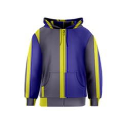 Blue and yellow lines Kids  Zipper Hoodie