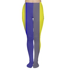 Blue and yellow lines Women s Tights