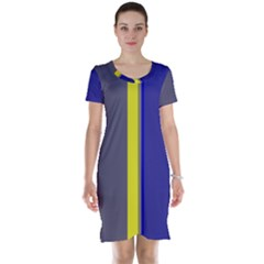 Blue and yellow lines Short Sleeve Nightdress