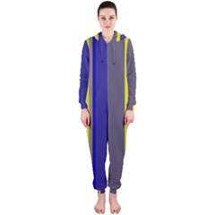 Blue and yellow lines Hooded Jumpsuit (Ladies)