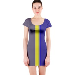 Blue and yellow lines Short Sleeve Bodycon Dress