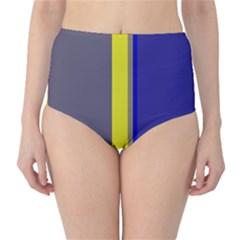 Blue and yellow lines High-Waist Bikini Bottoms