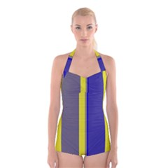 Blue and yellow lines Boyleg Halter Swimsuit