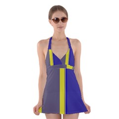 Blue And Yellow Lines Halter Swimsuit Dress