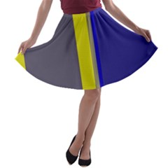 Blue and yellow lines A-line Skater Skirt