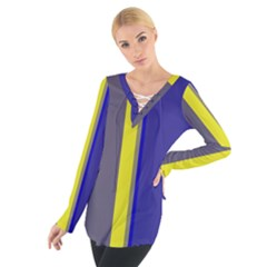 Blue And Yellow Lines Women s Tie Up Tee