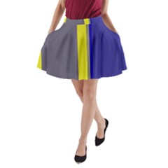 Blue and yellow lines A-Line Pocket Skirt
