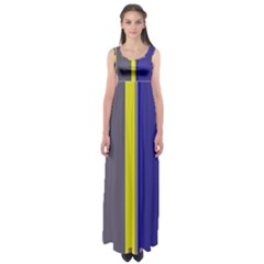 Blue And Yellow Lines Empire Waist Maxi Dress