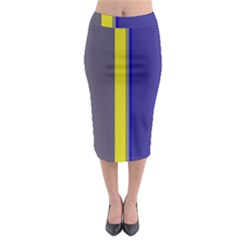 Blue And Yellow Lines Midi Pencil Skirt