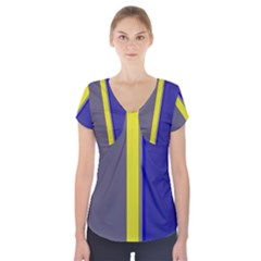 Blue and yellow lines Short Sleeve Front Detail Top