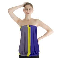 Blue and yellow lines Strapless Top