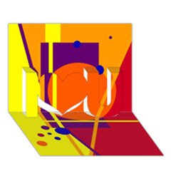 Orange abstract design I Love You 3D Greeting Card (7x5)