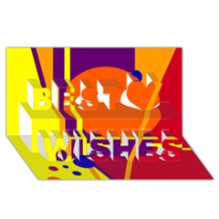 Orange abstract design Best Wish 3D Greeting Card (8x4)