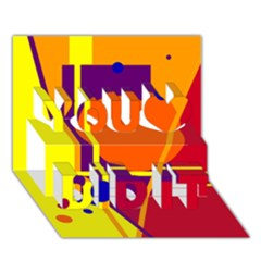Orange abstract design You Did It 3D Greeting Card (7x5)