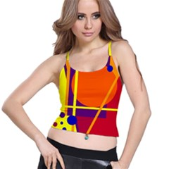 Orange abstract design Spaghetti Strap Bra Top