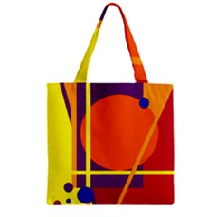 Orange abstract design Zipper Grocery Tote Bag