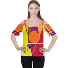Orange abstract design Women s Cutout Shoulder Tee