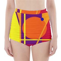 Orange abstract design High-Waisted Bikini Bottoms