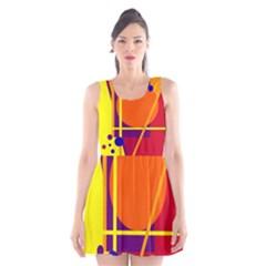Orange abstract design Scoop Neck Skater Dress