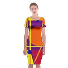 Orange abstract design Classic Short Sleeve Midi Dress