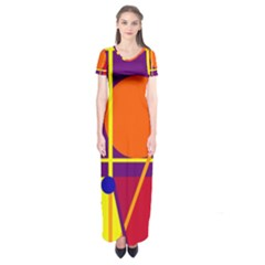 Orange abstract design Short Sleeve Maxi Dress