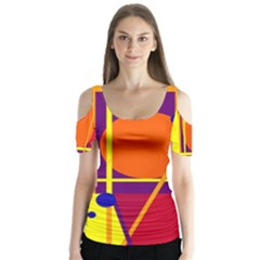 Orange abstract design Butterfly Sleeve Cutout Tee