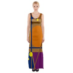 Decorative abstract design Maxi Thigh Split Dress