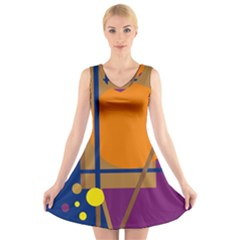 Decorative abstract design V-Neck Sleeveless Skater Dress