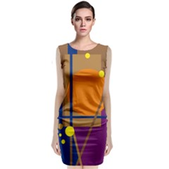 Decorative Abstract Design Classic Sleeveless Midi Dress