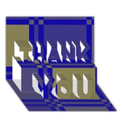 Blue design THANK YOU 3D Greeting Card (7x5)