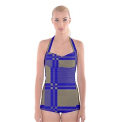 Blue design Boyleg Halter Swimsuit