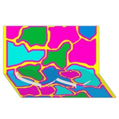 Colorful abstract design Twin Heart Bottom 3D Greeting Card (8x4)