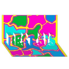 Colorful abstract design BEST SIS 3D Greeting Card (8x4)
